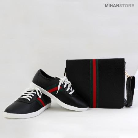 ست کیف و کفش دخترانه طرح گوچی جی جی Gucci GG
