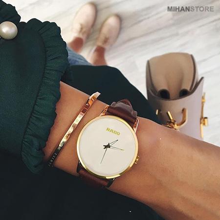 ساعت مچی دخترانه رادو Rado مدل سیمپل Simple رنگ بند قهوه ای