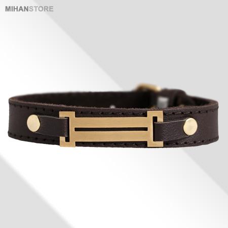 دستبند چرم رومی(طرح طلا) رنگ قهوه ای