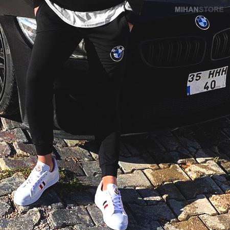 ست سوئیشرت و شلوار BMW دارای جنس نخ و پنبه  و رنگ آن مشکی