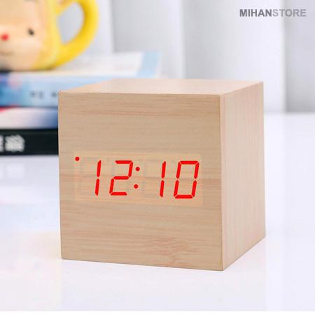 ساعت و دماسنج ال ای دی چوبی LED رومیزی Modern Wooden LED Clock  Cube