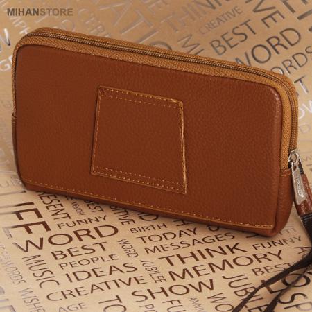 کیف پول و موبایل دستی و کمری  رنگ قهوه ای