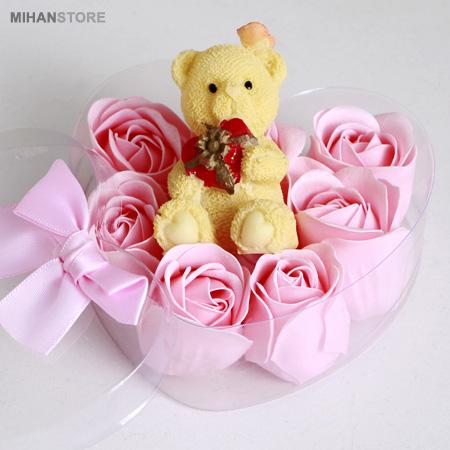 پکیج کادویی خرس و گل عطری طرح Romantic به 4 رنگ قرمز ، بنفش، صورتی و آبی