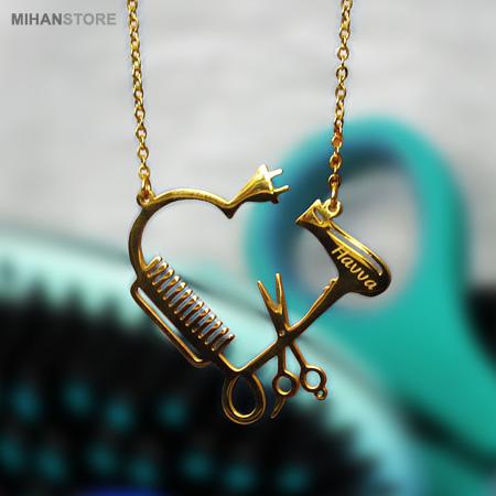 گردنبند لاکچری طرح آرایشگری شانه قیچی و سشوار Barber Necklaces طلایی