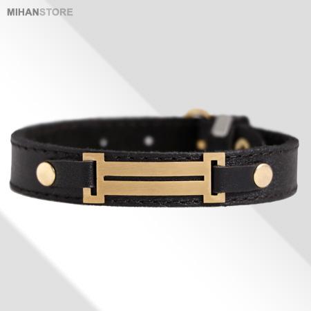 دستبند چرم رومی(طرح طلا) رنگ مشکی