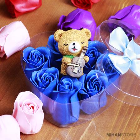 پکیج کادویی ولنتاین خرس و گل عطری طرح رمانتیک Romantic