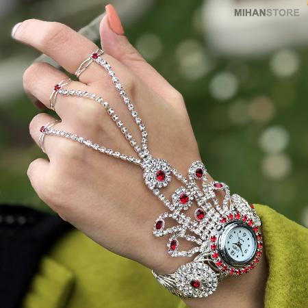 ساعت دستبندی و انگشتری تمیمه ی جم Women Harness Ring & Watch