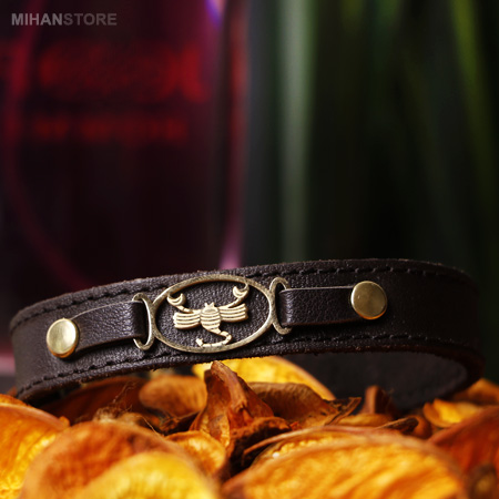 دستبند چرم مجلسی اسپرت طرح ماه تولد رنگ قهوه ای